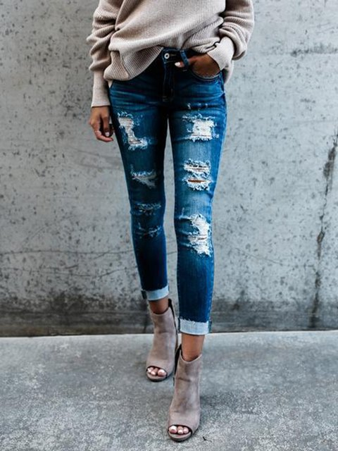 Blue Sheath Ripped Denim Casual Solid Jeans