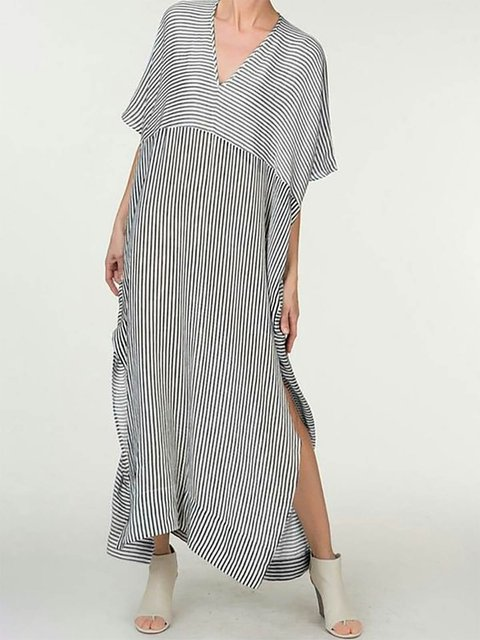 V neck White Shift Women Cotton Short Sleeve Slit Striped Summer Dress