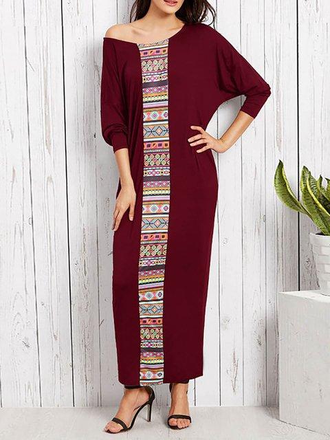 A-line Women Daily Long Sleeve Basic Paneled Geometric Summer Dress