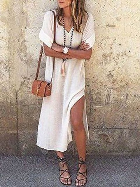V neck White A-line Women Daily Half Sleeve Basic Cotton  Summer Dress