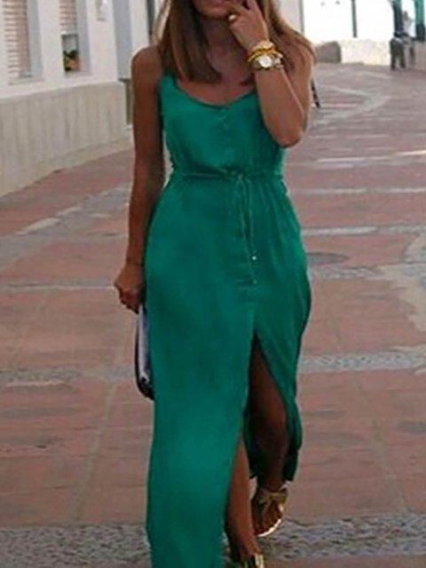 Dark Green Shift Women Daily Cotton Basic Spaghetti Slit Solid Summer Dress