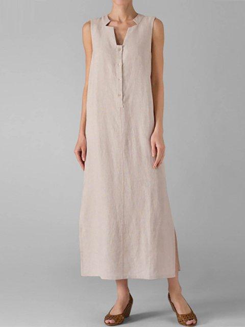 V neck  Shift Women Daily Basic Sleeveless Cotton Paneled Solid Summer Dress