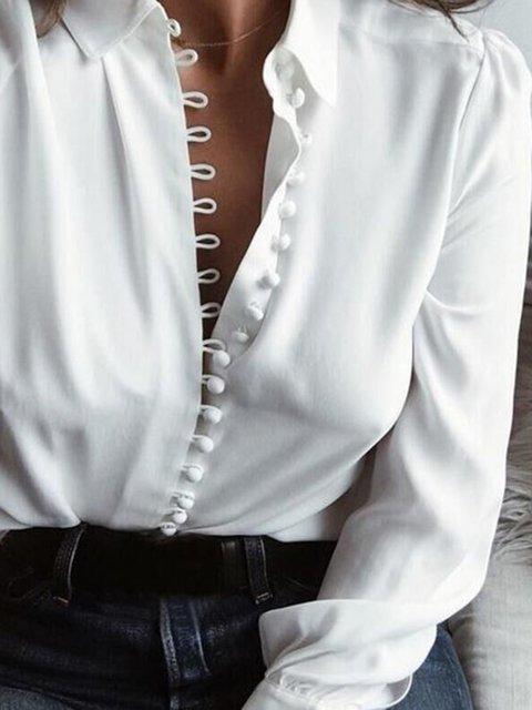 Shirts Buttoned Sleeve Collar Solid Shirt Long qvT5gxwXpg