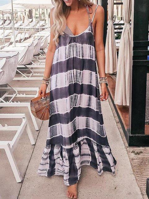 Gray Swing Women Daily Spaghetti Casual Patchwork Summer Dress