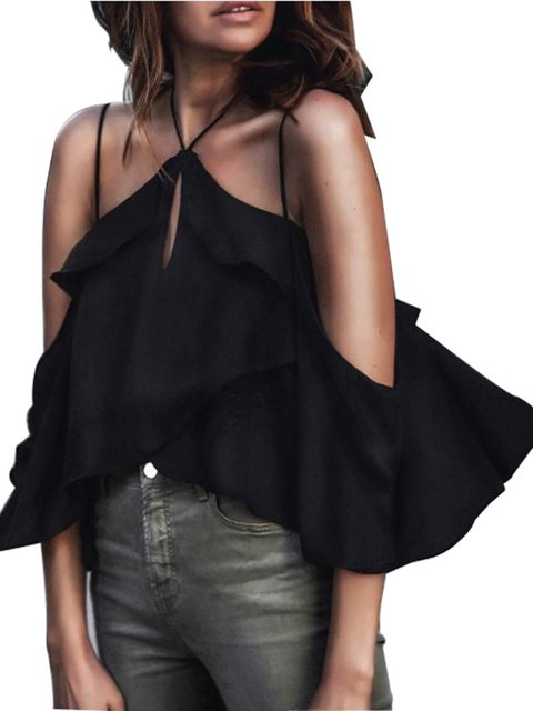 Halter Solid Black Cold Folds Shoulder Blouse nvw8UR