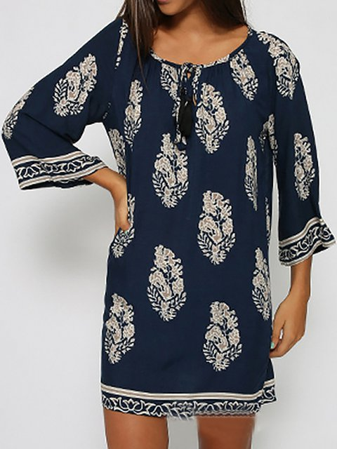 Dress Floral Blue Daily Paneled Women 3 4 Basic Sleeve zBaqzTU