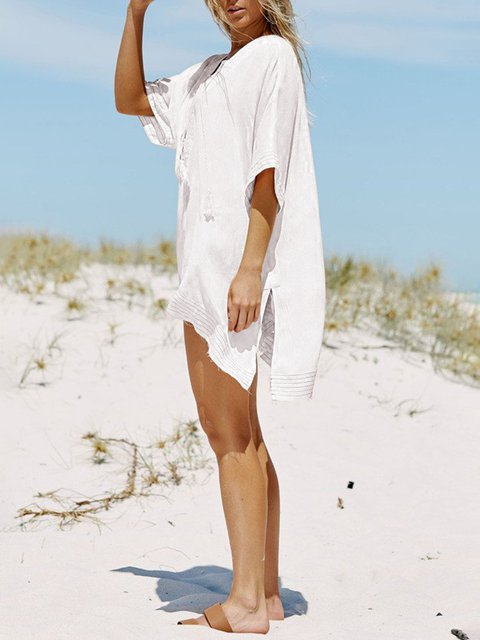 Blouse White Solid Casual neck Short V Paneled Sleeve pa0wCpq