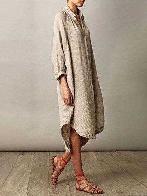 Khaki High Low Women Daily Casual Long Sleeve Solid Summer Dress