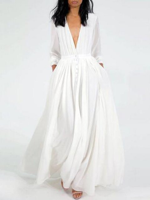 Plunging neck White Swing Women Party 3/4 Sleeve Buttoned Solid Prom Dress