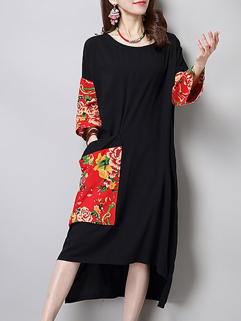 Black Shift Women Daily 3/4 Sleeve Basic Paneled Floral Casual Dress