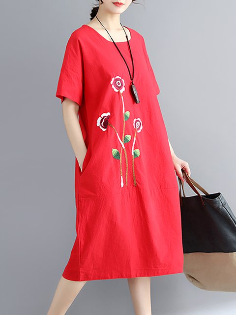 Women Daily Basic Short Sleeve Floral Casual Dress