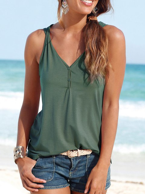 Buttoned Sleeveless V neck Casual Solid Tanks