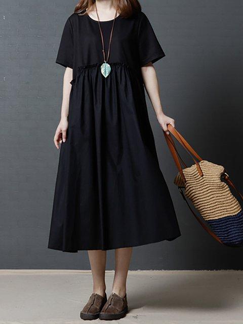 Women Paneled Short Solid Sleeve Dress Casual O8q08TwY