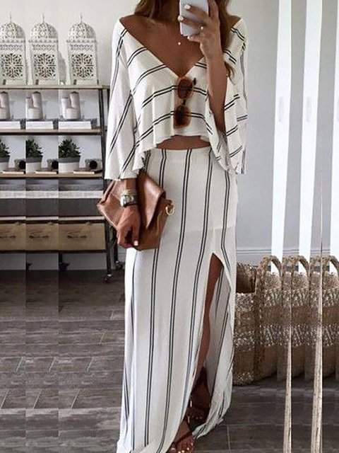 V neck  Two Piece Women Daily Batwing Slit Striped Summer Dress