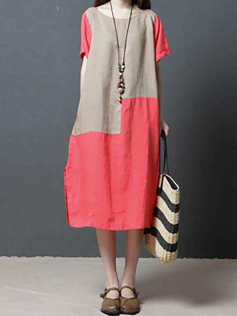 Shift Women Daily Short Sleeve Basic Paneled Solid Casual Dress