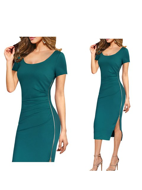 0d493c553a9d Justfashionnow Sundress Sexy Dresses Daily Sheath Crew Neck Paneled Sexy  Short Sleeve Dresses