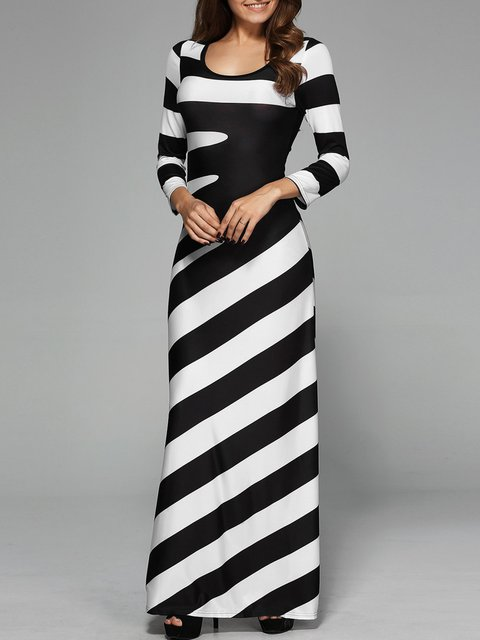 Black-white Women Daily Long Sleeve Paneled Striped Spring Dress