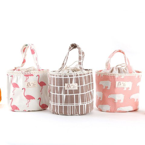Carton Drawstring Linen Lunch Bags Storage Bags