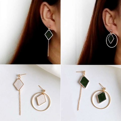 Trendy Rhombic Circle Asymmetric Earring Women Personality All- Match Geometric Earring fashion jewelry