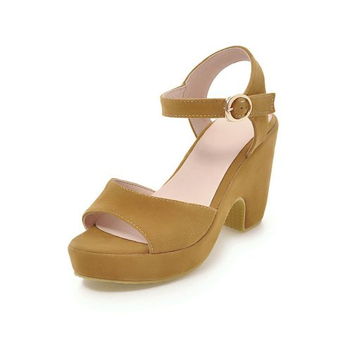 Women Flocking Sandals Casual Platform Adjustable Buckle Shoes