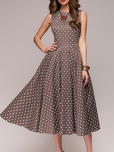 a51d495ebe0 JustFashionNow Crew Neck Women Summer Dress Swing Dress Sleeveless Vintage  Paneled Polka Dots Dress
