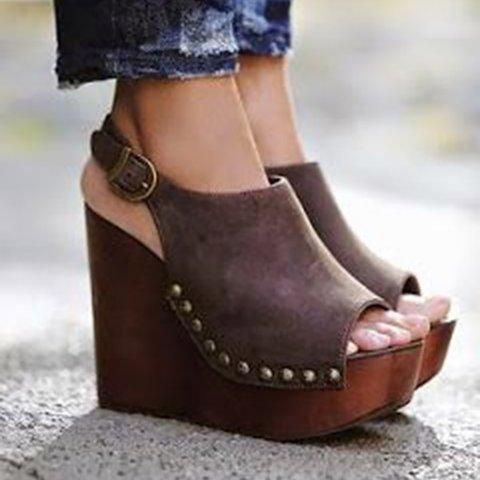 Women PU Wedge Sandals Casual Comfort Adjustable Buckle Shoes