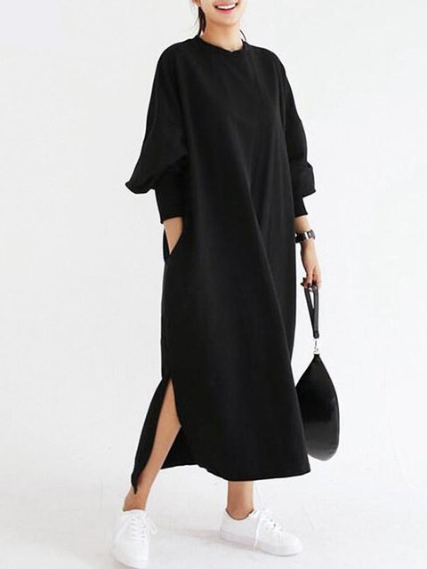 Women Daily Batwing Cotton Casual Slit Solid Casual Dress