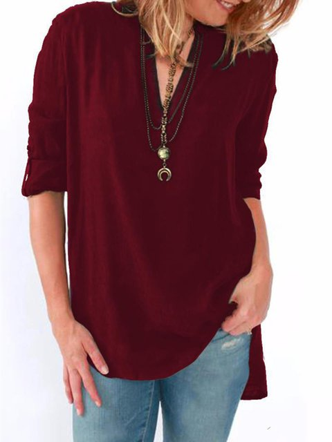 Long Sleeve V neck Solid Basic Blouse