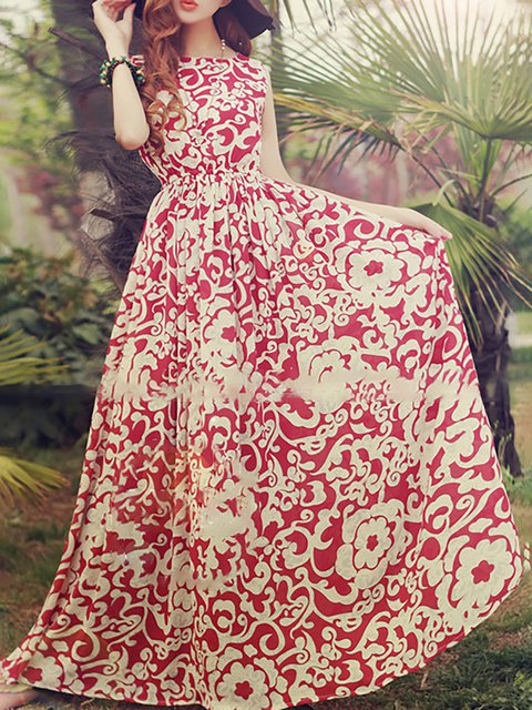 Swing Women Daily Basic Cotton Paneled Floral Elegant Dress