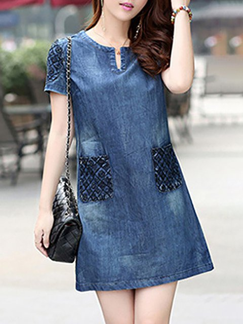 Blue A-line Women Daily Short Sleeve Basic Paneled Solid Casual Dress