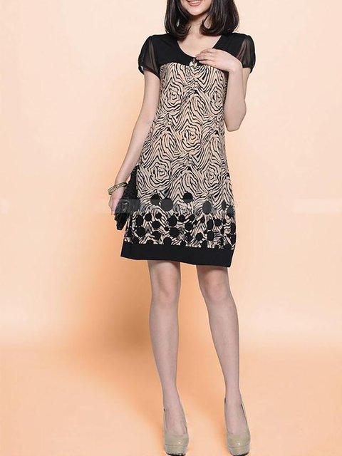 Short Sleeve Daily blend Paneled Solid Shift Elegant Women Black Dress Cotton twBWnx6WZq