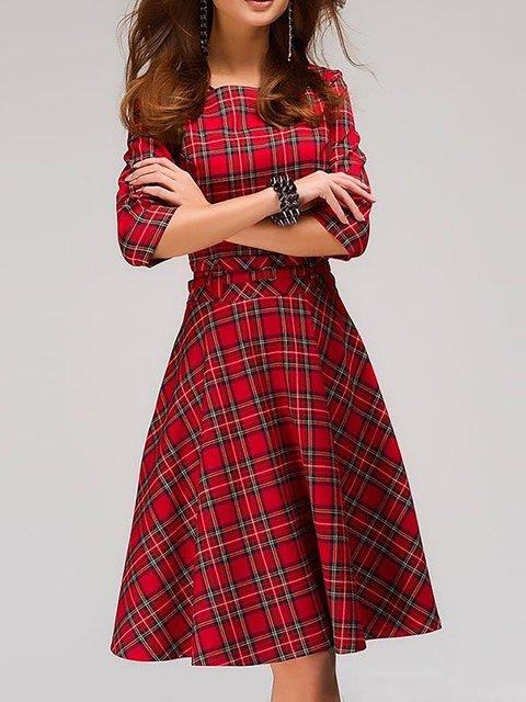 Swing Women Daily Half Sleeve Checkered/Plaid Spring Dress
