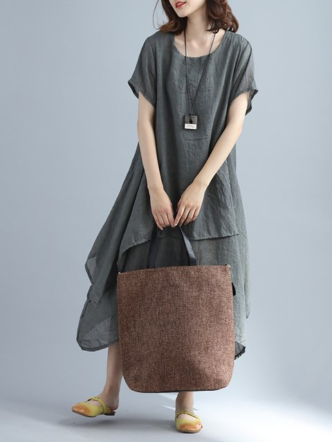 Women Daily Linen Basic Tiered Solid Casual Dress