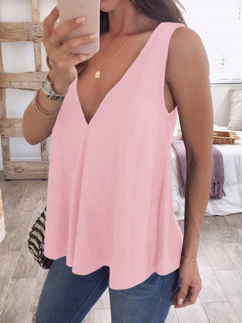 Basic Solid V neck Sleeveless Tanks