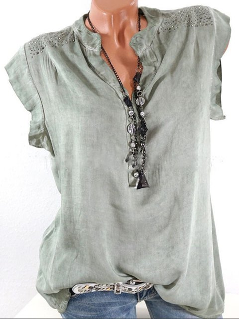 Solid V Basic Casual neck Blouse Sleeveless qcYfv