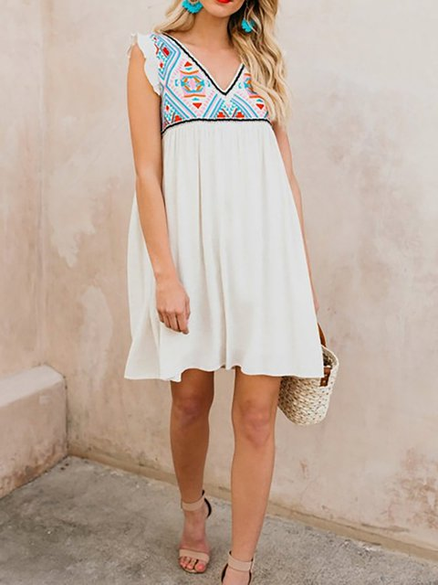 White Women Daily Casual Frill Sleeve  Solid Summer Dress