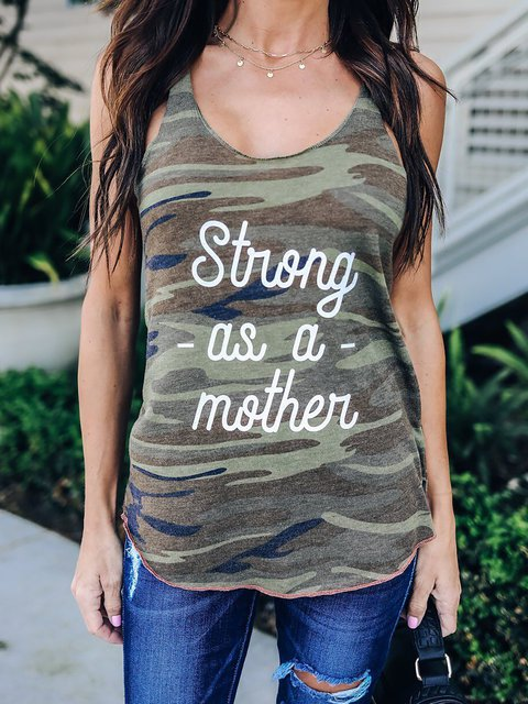 Army green Casual Sleeveless Crew Neck Tanks