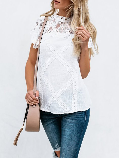 White Solid Casual Cotton Crew Neck Blouse