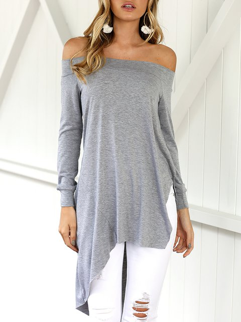 Sleeve Casual Solid Off Shirt Long Shoulder T qv7pa7U