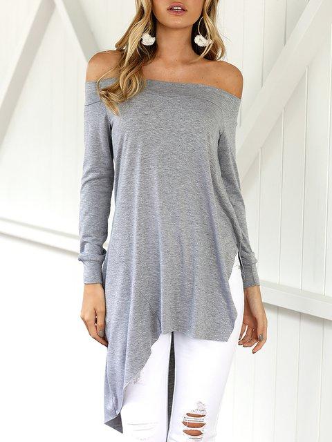 Sleeve Casual Solid Off Shirt Long Shoulder T qv7pa7U