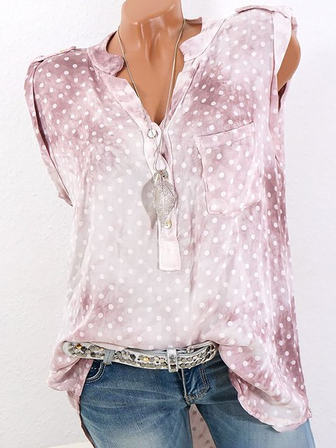Printed Sleeveless Polka Dots V neck Blouse