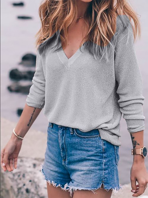 Polyester Long Sleeve V Neck Solid Casual T-Shirt
