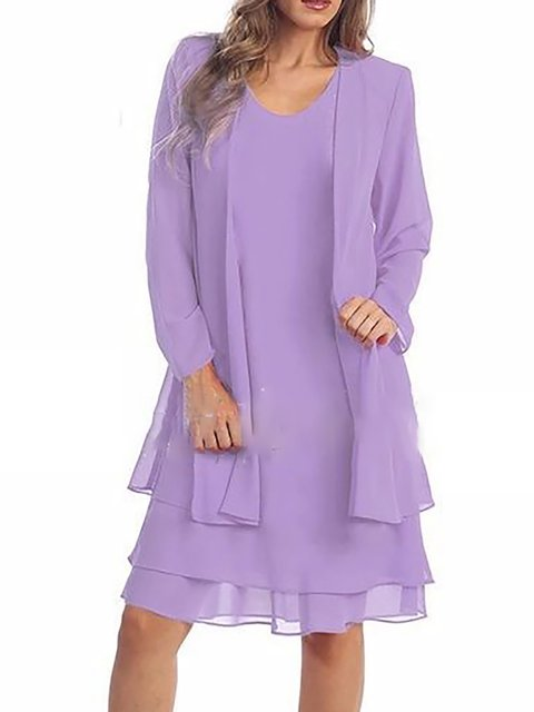 Women Long Sleeve Basic Color-block Solid Spring Dress