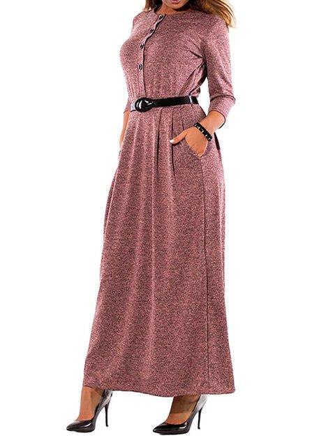 Women Daily 3/4 Sleeve Basic Paneled Solid Spring Dress