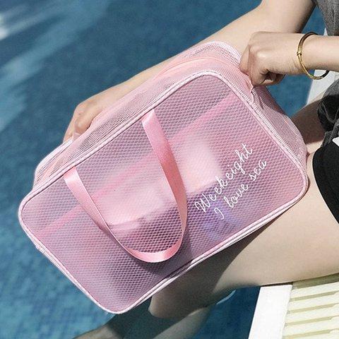 Women Solid Beach Bag Swimming Wash Storage Bag Fitness Bag