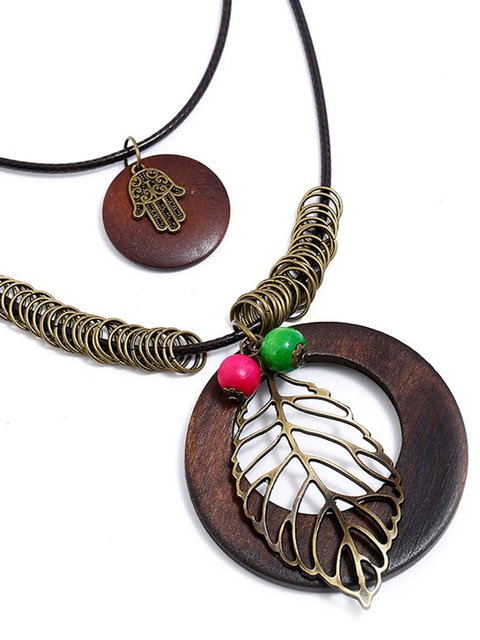 Womens Vintage Alloy Hollow Leaf Sweater Necklaces