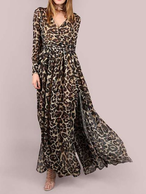 V neck Brown Swing Women Daily Long Sleeve Chiffon Slit Leopard Print Floral Dress