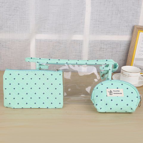 Women PVC Cosmetic Bag Three-Piece Package Crown Map Travel Wash Bag Solid Storage Bag