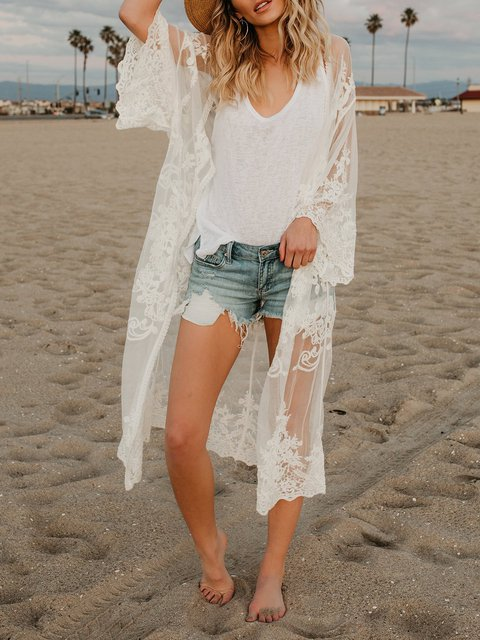 Solid Long Sleeve Lace Beach Cardigan