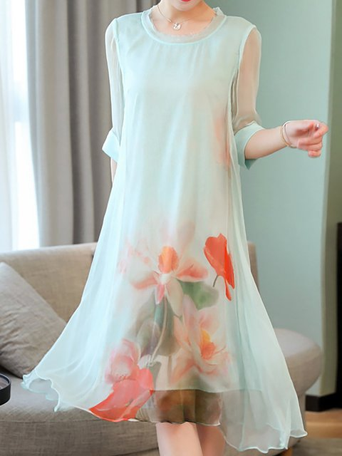 Dress Light Elegant blue Statement Sleeve Daily Half Floral Shift Women rrzH8